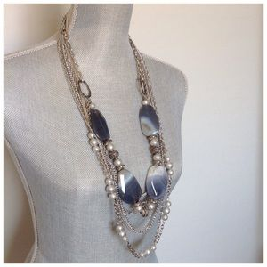 Agate Pearls Chains Necklace